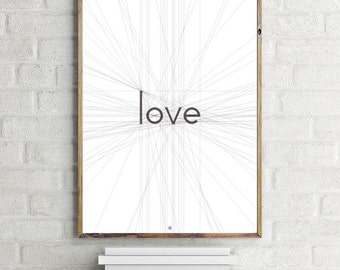 Love, Love Print,  Geometric Print Art, Black and White, Minimalism Print, Scandinavian, Modernist Home Decor