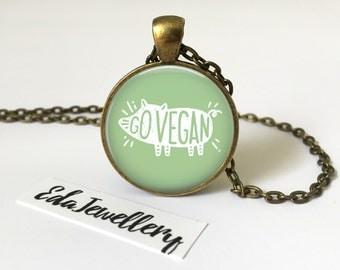 Go Vegan Pendant, Cruelty Free Jewellery, Veganism Necklace