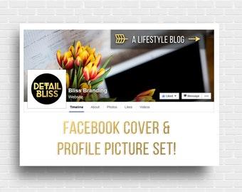 Gold Foil Facebook Cover & Profile Picture || Social Media Graphics || Lifestyle Blogger Facebook Set