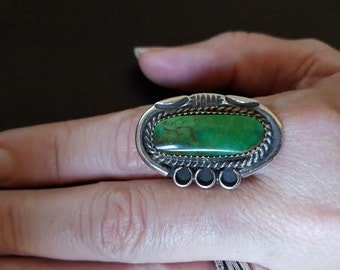 Native American Sterling Silver and Turquoise Ring- Size 9