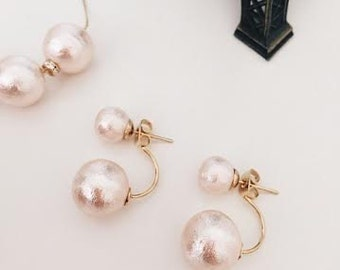 2  way earrings pink cotton pearl /bridal /wedding jewelry /gift