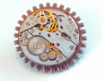 Upcycled, sun pin, watch movement, Steampunk pin, steampunk brooch, steampunk tie pin, steampunk badge, handmade steampunk, steampunk #5