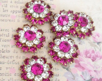 4 sweet sparkly swarovski fuchsia and clear crystals in brass setting  #278fu-38