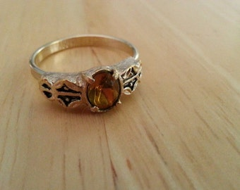 Sarah Coventry Ring - Yellow Glass Topaz