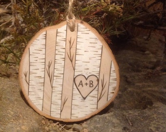 Custom wood burned white birch trees Christmas ornament personalized with initials - great 5th anniversary gift!