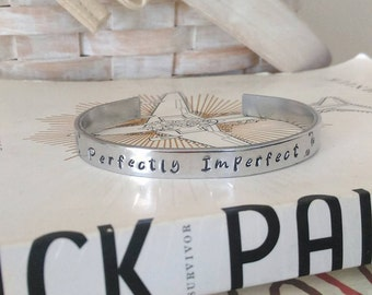 """Handstamped """"Perfectly Imperfect"""" Cuff Bracelet"""