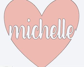 Heart Name Cutout Decal