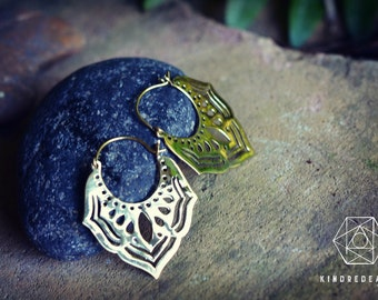 Tribal Indian Earrings, Sacred Geometry, Brass Jewelry, Tribal Earrings, Indian Jewelry, Ethnic Jewelry, Bohemian Jewelry, Yoga Jewelry