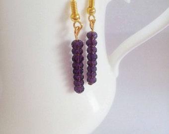 Purple facet beads earrings