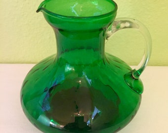 Vintage Italian Made Forest Green Pitcher