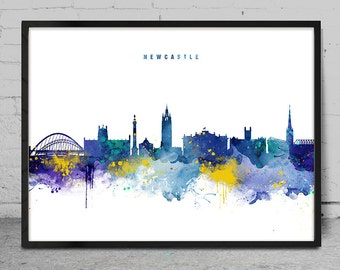 Newcastle Skyline, Newcastle England Cityscape Art Print, Watercolor Painting, Wall Art, Cityscape, City Wall art, Artwork, Art -x142