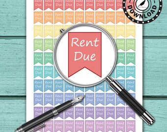 100 Rent Due Stickers | Download Printable Planner Stickers for Erin Condren Planner | Instant Download (ni5)