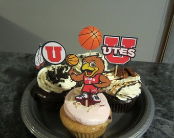 Cupcake toppers, party supplies, Utah Utes, basketball, sports theme, NCAA, March Madness, college
