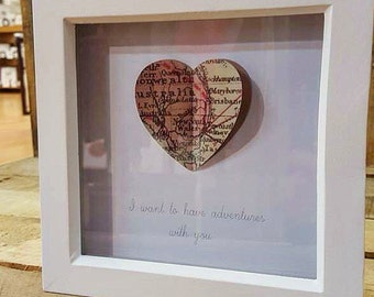 I want to have Adventures with you- 3D map heart in white box frame- Love-Travel-Gift