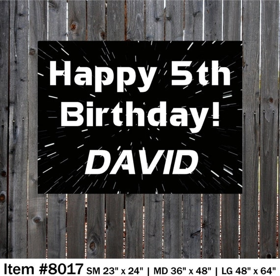 Star Wars Happy Birthday Banner, Space Personalized Banner.