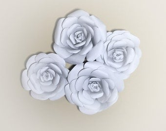 """7"""" Wall Paper Flowers-set of 4"""