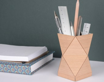 Handmade Geometric Wooden Pencil Pot in Walnut or Cherry wood