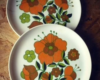 Silk-screened flowers vintage - Melamine - French - Tefal 1970 flat plates