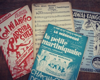 sheet music 1950 - set of 4 - french music score 1950