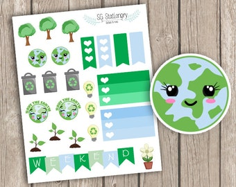 Earth day Planner Stickers, earth day box Planner Stickers, Planner Stickers, Functional Stickers, ECLP, Filofax, earth day,