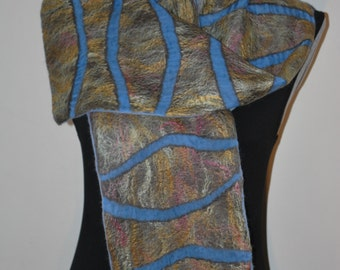 SALE 50% off Nuno Felted Eco Superfine Merino Wool and Silk/Shiffon Scarf OOAK