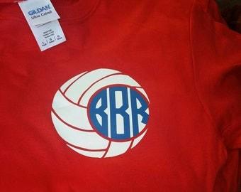 Volleyball shirts, volleyball monogrammed shirt, sports shirt, sports tee, monogrammed volleyball tee, monogram tee, Short Sleeve