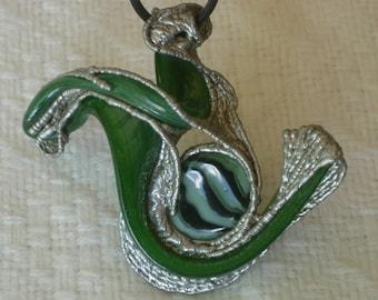 """Sculpted Solder & Glass Pendant, """"Snail Escape"""""""
