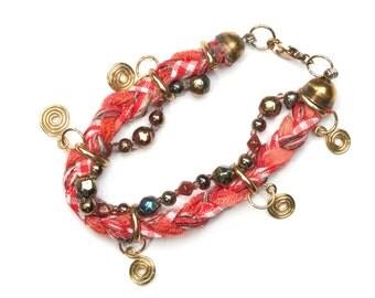 Bracelet braided fabric ethno with trailer