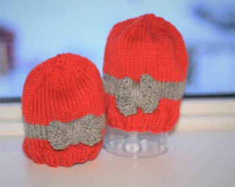 Knit Newborn Hat with Bow