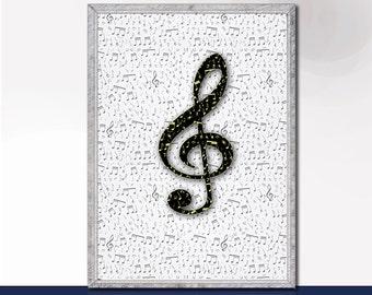 Printable Art Printable Wall Art Typography Prints Printable treble clef music decor classroom printable Digital Prints