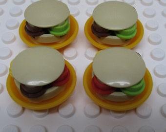 Lego Food - Hamburger Picnic - Four Hambugers on Plates