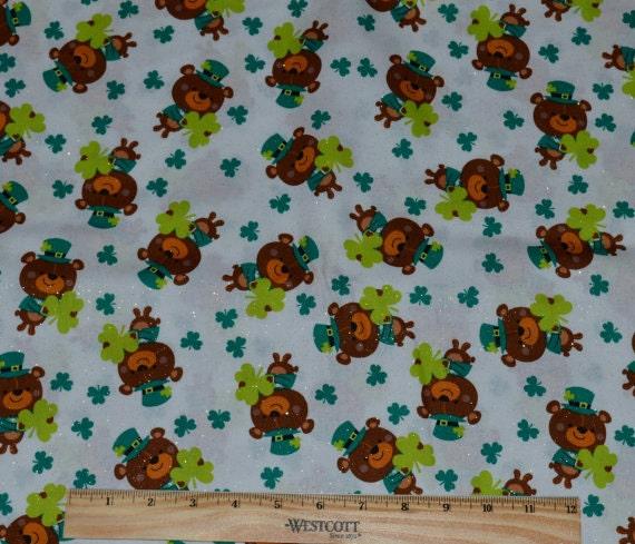 St Patrick Fabric By The Half Yard Teddy Bear Leprechauns
