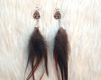 Butterfly Earring Brown Feather Earrings