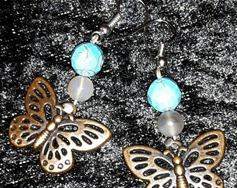 Earrings Butterfly turquoise & agate