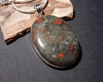 Metalic Jasper Handmade .925 Sterling Silver Pendant Chain Necklace Cabochon Gemstone