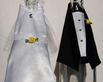 Wedding Wine Bottle Covers (bride and groom set)