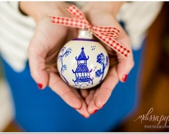 Chinoiserie Ornament - IN STOCK - Blue and White - Pagoda Design - Hostess - Holiday - Christmas - Housewarming - Gift