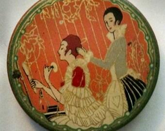 c1920s Richard Hudnut Three Flowers Face Powder sample tin shabby chic New York Paris decor antique advertising **free shipping**