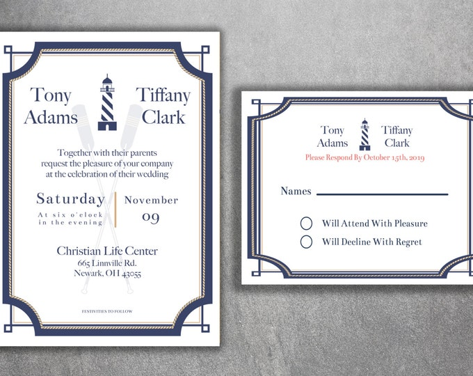 Nautical Wedding Invitations Set - Cheap Wedding Invitations, Navy Wedding Invitation, Affordable, Beach, Cheap, Boat, Gold, Light House