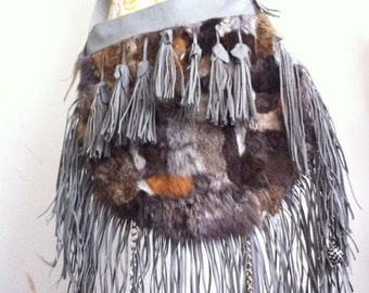 Really steep crossbody bag from real rabbit fur velvet&soft fur bag with leather fringe, stylish bag handmade new collection has size-large.