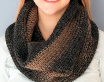 Ombre Cowl Scarf, Taupe & Charcoal | Handmade Crochet Knit Cowl Scarf | Wool Blend Handmade Scarf | Warm Cozy Cowl Scarf | Ombre Cowl Scarf