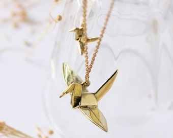Two origami Birds necklace,origami pendant,brass origami necklace,birds origami necklace,gold birds origami necklace,birds origami jewelry