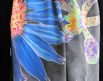 Brilliant Blossoms Hand Painted Silk Scarf