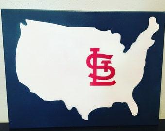 Cardinal Nation - STL - Custom Painted Canvas
