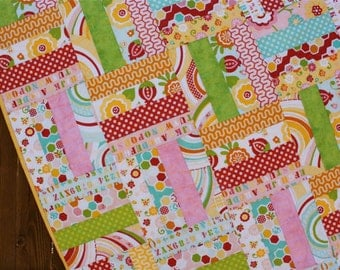 Simply Sweet Baby Quilt, Baby Girl Quilt, Pink Red Baby Girl Quilt, Yellow Green Flower Strip Quilt, Handmade Blanket, Crib Quilt Rail Fence