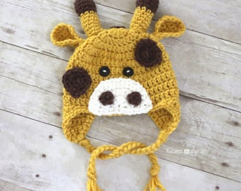 Crochet ,Baby / Child  Giraffe Beanie / Earflapped  Hat .0-  6 years old
