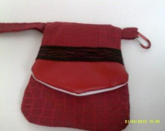 Clutch Bag,Hand Bag, Wristlet, Clip on your Belt loop bag, Evening Bag, Red purse