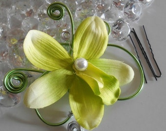 Jewel of hair wedding flower green Orchid