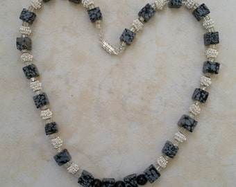 Natural snowflakes obsidian, black Mexican Opals and silver plated wire beads