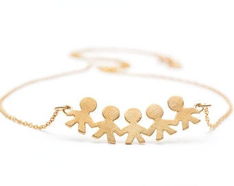 Family Circle Necklace / United Family / Gold Jewelry / Gold Jewelry Kid / Gold Necklace / Gold Necklace Kid / Family Jewelry / Romarine